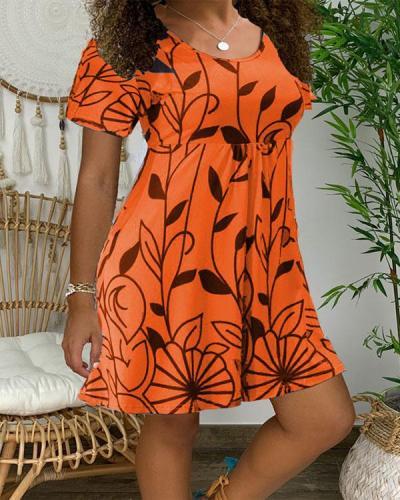Floral O-Neckline Mini X-line Dress