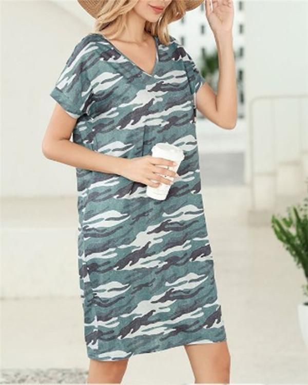 Camouflage Short Sleeve Casual Dresses
