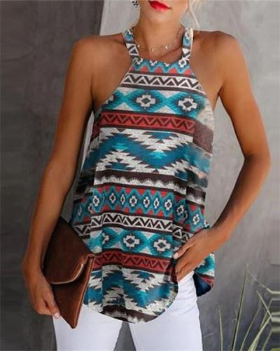 Printed Crew Neck Sleeveless Tank Tops