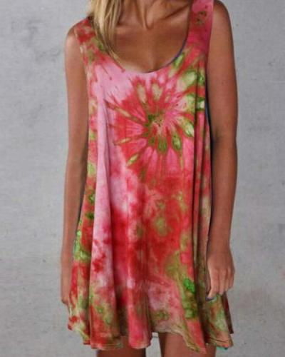 Summer Tie Dye Mini Women Dress