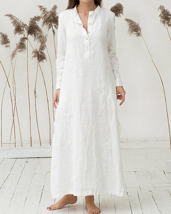 Loose Long Sleeve Shirt Dress