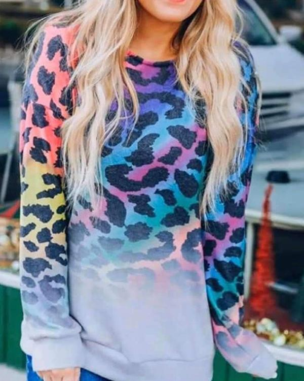Colorful Leopard Top Pullover Sweatshirt