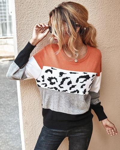 Long Sleeve Crew Neck Leopard Stitching Sweater