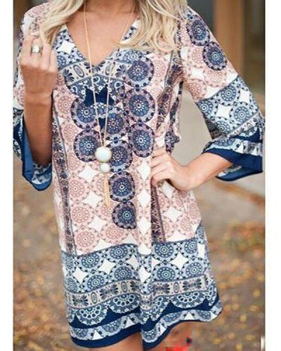 V-neck Daily Print Dress