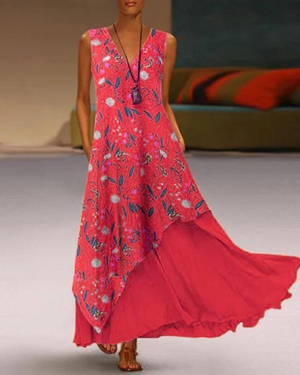 Plus Size V-neck Sleeveless Floral Irregular Hem Two-piece Pocket Dress