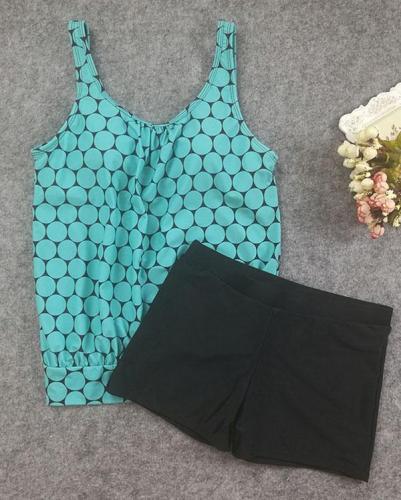 Dot Print U-Neck Plus Size Tankinis Swimsuits