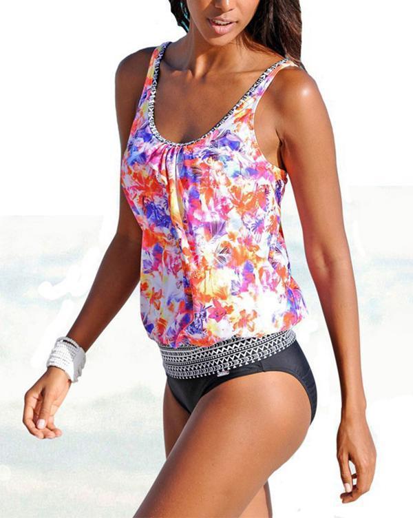 Printed Sexy Tankini Swimsuit Plus Size Bathing Suit