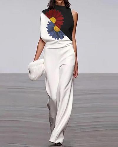 Women's Modern Sleeveless Flower Patchwork  Loose Jumpsuit