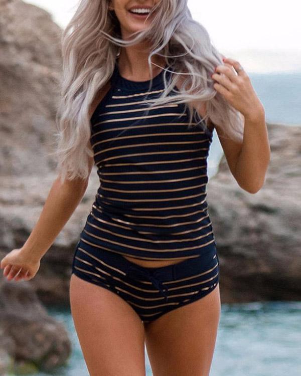 Striped Print Glamorous Tankini