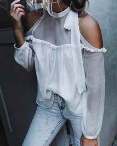 Women Elegant Tie Collar Bowknot Patchwork Plain Blouses Tops