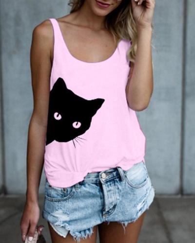 Women Cat Printed Crew Neck Sleeveless Tanks Tops