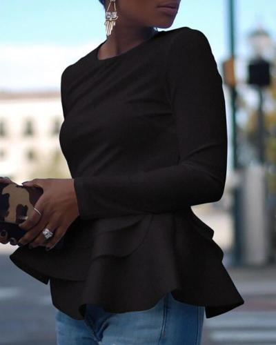 Solid Long Sleeve Layered Ruffles Blouse