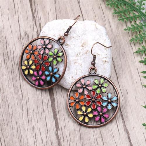 Fashion Round Cutout Flower Earrings