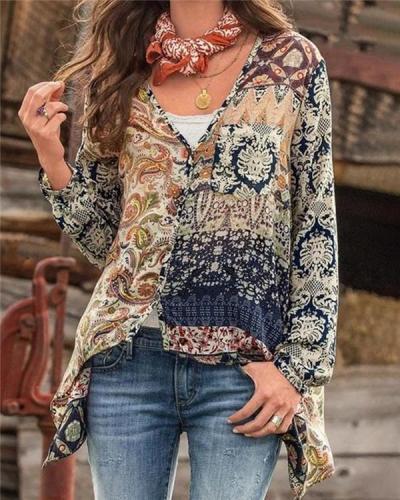 V Neck Fall Floral Designer Casual Shirts & Tops