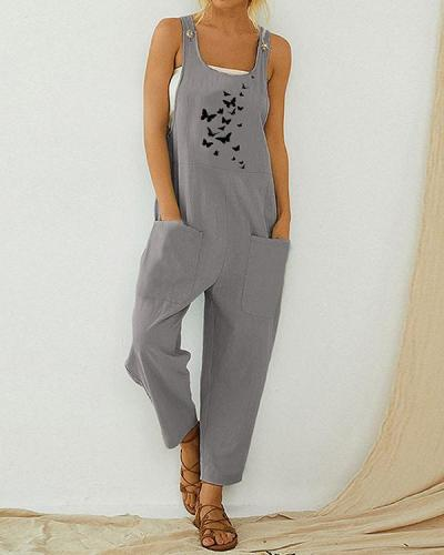 Butterfly Printed Vintage Jumpsuit With Pocket