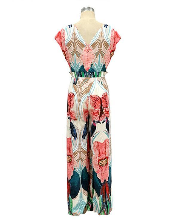 Women's Floral Print Sleeveless Vacation Jumpsuit