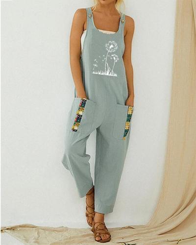 Dandelion Printed Strap Patchwork Vintage Jumpsuit With Pocket