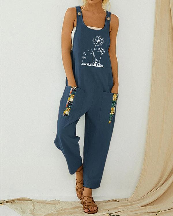 Dandelion Printed Strap Patchwork Vintage Jumpsuit With Pocket