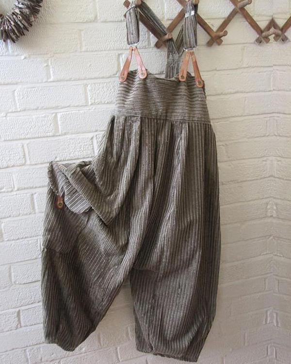 Stripes Casual Cotton-Blend One-Piece