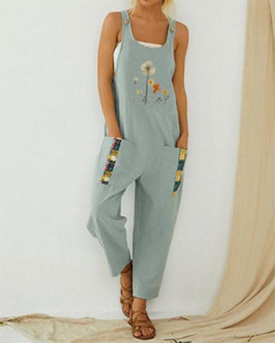 Floral Printed Straps Patchwork Vintage Jumpsuit With Pocket