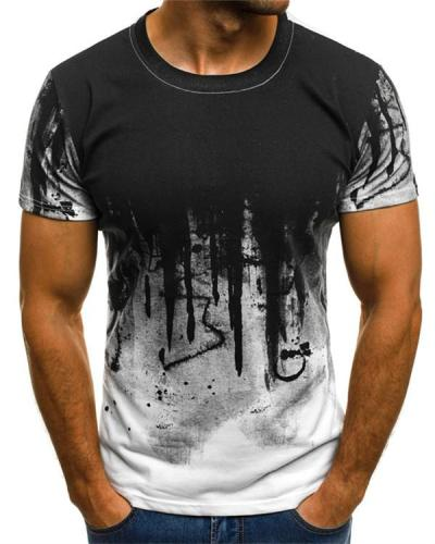 Men Printed Hiphop Streetwear Short Sleeve Fitness Tshirts