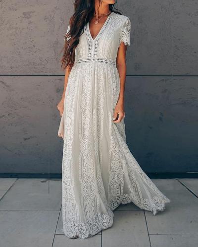 Women's Maxi Shift Dress Short Sleeve Geometric Lace Deep V Basic Dress