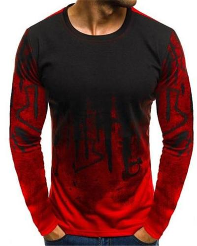 Men Printed Hiphop Streetwear Long Sleeve Fitness Tshirts