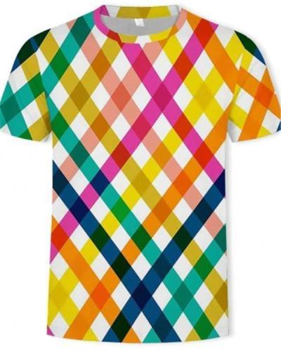 Summer Casual Color Stripe 3D Printing Men's Trend T-Shirt