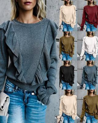 Ruffle Women Solid Casual Round Neck Shirts & Tops