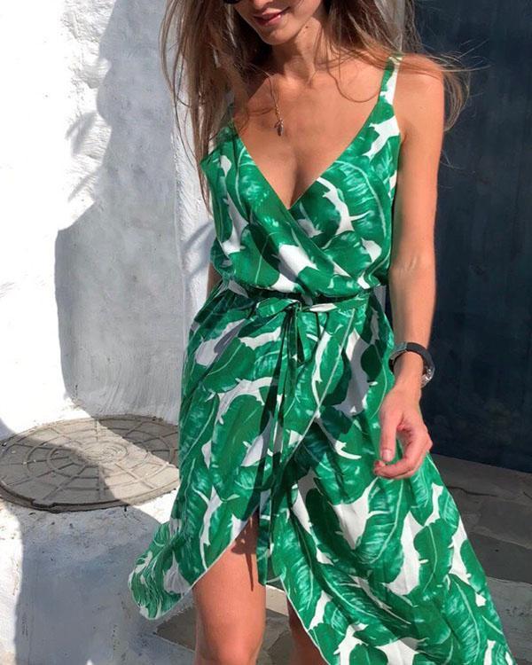 Summer Leaf Printed V-neck Sleeveless Tie Waist Flowy Midi Dress