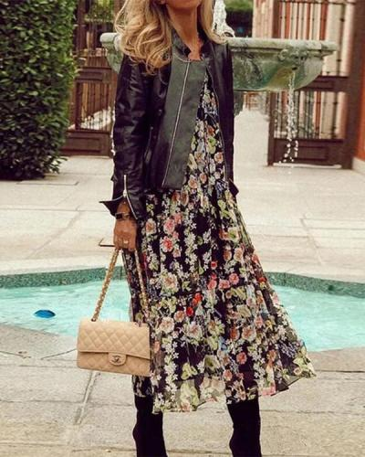 Floral Half Sleeve A-line Casual Vacation Midi Dresses