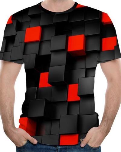 Men's Basic / Exaggerated Plus Size Cotton T-shirt - 3D Print Round Neck