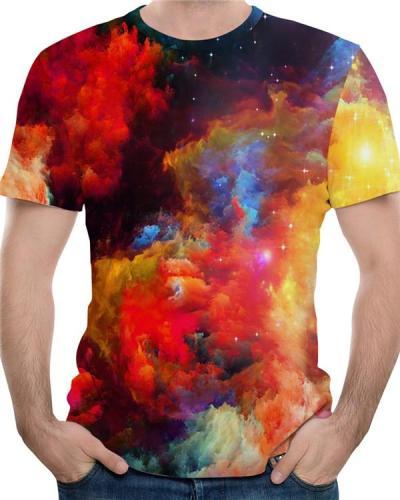 Men's Sports Active Cotton Print Round Neck T-shirt