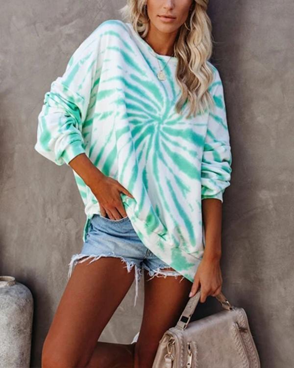Women Tie Dye Print Long Sleeve Sweatshirt