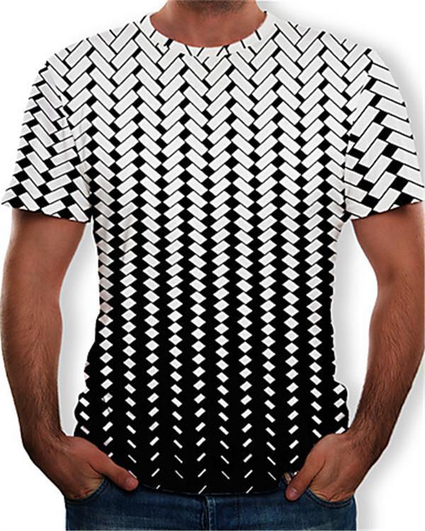 Men's T-shirt - Color Block / 3D / Graphic Print Round Neck
