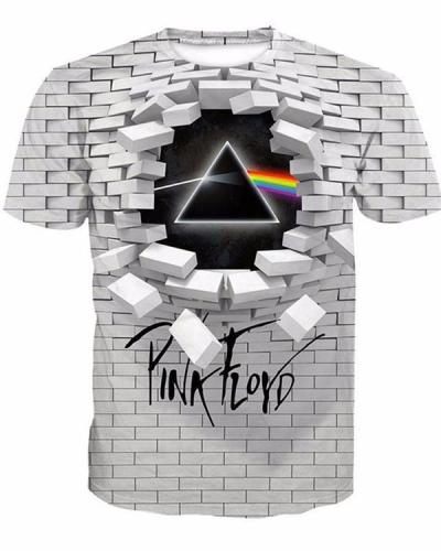 Men's T-shirt - Geometric / 3D / Letter Print Round Neck White