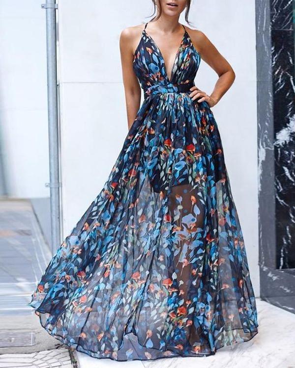 Fashion Sleeveless Backless Mesh Floral Print Maxi Dress