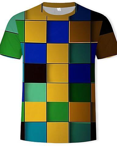 Men's Cotton Geometric Colorful 3D Print Round Neck Rainbow T-shirt