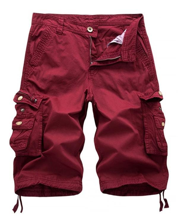 Men's Summer Cargo Solid Soft Multi-Pocket Shorts