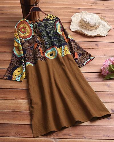 Plus Size Tunic Geometric V-Neckline Casual Midi Plus Dress