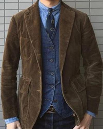 Men's Lapel Solid Color Corduroy Jacket