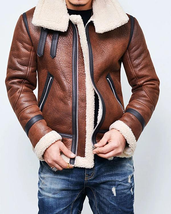 Fashion Trend Long Sleeve Warm Leather Jacket Outerwear