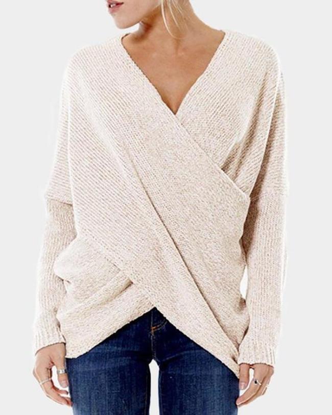 New Women's Fashion Cross Front Irregular Hem Sweaters Jumper