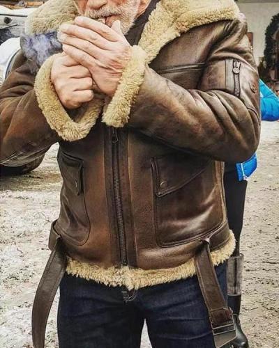 Vintage Leather With Plush Jacket