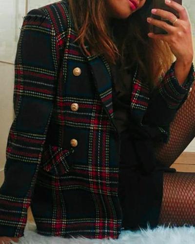 Plaid Vintage Women Jacket  Long Sleeve Outerwear Coat