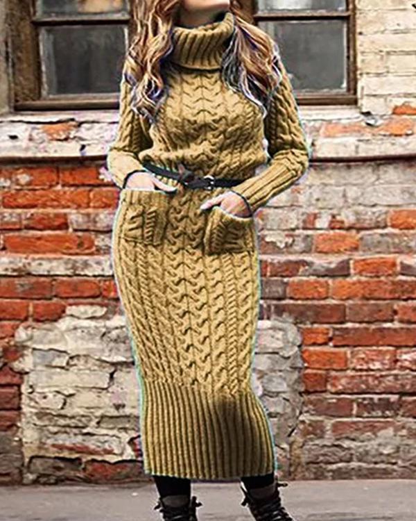 Turtleneck Shift Date Casual Dresses