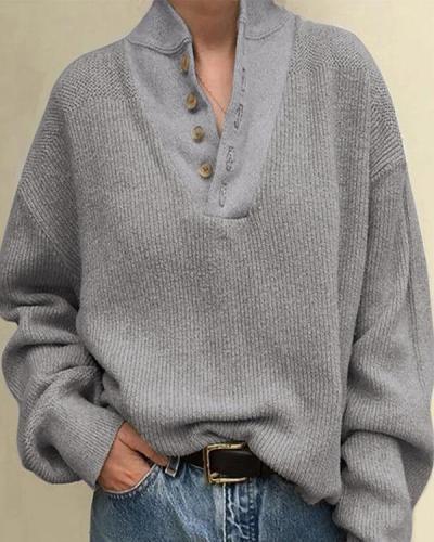 Plus Size Plain Buttoned Long Sleeve Casual Tops Blouses