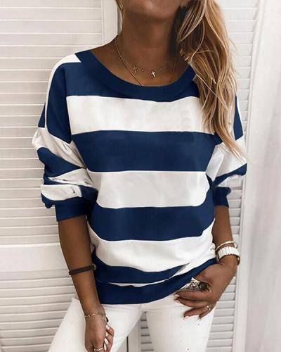 Stripe Casual Round Neck Daily Shirt Sweatshirt