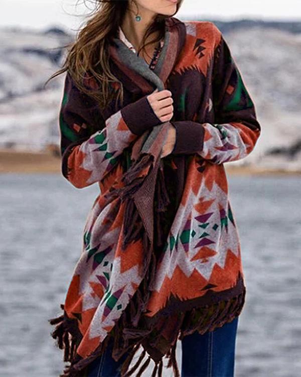Multicolor Boho Color-Block Patchwork Cotton-Blend Outerwear