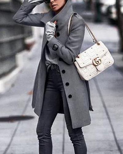 Fall Winter Fashion Pure Color Warm Coat